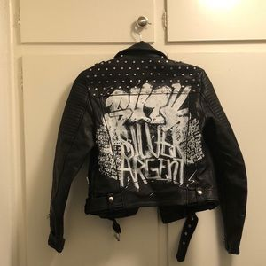 Zara leather Jacket with Grafiti detail and Studs